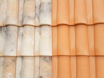 Free Before After Roof Restauration Tiles Half Clean And Dirty After The Passage Of A High-pressure Jet Royalty Free Stock Images - 126004889
