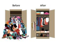 Free Before Untidy And After Tidy Wardrobe. Messy Clothes Thrown On A Shelf And Nicely Arranged Clothes In Piles And Boxes. Stock Image - 157117431