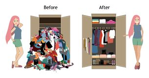 Free Before Untidy And After Tidy Wardrobe With A Girl. A Lot Of Cheap, Unfashionable, Old Messy Clothes Thrown Out Of Closet Stock Photo - 157411870