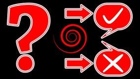 Befragen Sie Introanimation mit lebhaftem Fragezeichen, ja Knopf, kein Knopf in den Hinweisen, Pfeile Videointro zur Ausbildung,