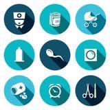 Befruktning havandeskap, födelsesymbolsuppsättning Arkivfoton