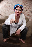 Befuddled woman Royalty Free Stock Photos