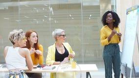 Begabte erfolgreiche Geschäftsfrau, die flipchart am Arbeitsplatz verwendet stock footage