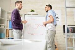 Begabte Manager, die Projekt-Diskussion haben stockbild