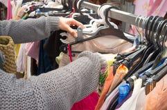 Begagnat shoppa marknaden Arkivbild