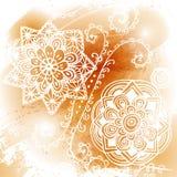 Bege pasteis, marrom, cora, teste padrão vermelho do ponto no branco Fundo redondo da flor do triângulo Geométrico floral abstrat Foto de Stock