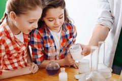 Begeisterte intelligente Mädchen, die das Experiment aufpassen Stockfotografie