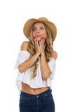 Begeisterte Träumer-Frau, die oben schaut Lizenzfreie Stockbilder
