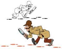 Begerige detective op het werk vector illustratie