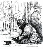 A beggar. On the street.Picture I have created with pen Royalty Free Stock Photo