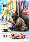 Beggar. With dog on the street.Picture I have created with pen and colored pencils Stock Photos