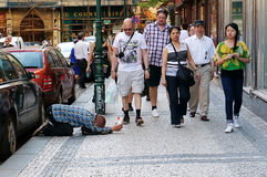 Beggar. Picture of a male beggar in Prague Stock Photography