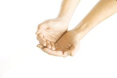Beggar. Hand on white isolated background in beggars position Stock Photography