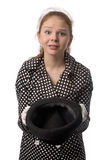 Beggar. Young woman with mournful face and hat in hands isolated on white Stock Image