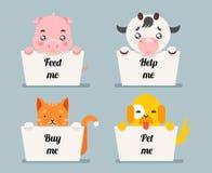 Beggar animals help cat dog pig cow cartoon flat design character vector illustration Stock Photo