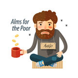 Beggar asking for money. Pauper, bum icon. vector illustration Royalty Free Stock Images