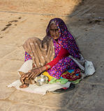 Beggar on the ghats of Varanasi Royalty Free Stock Image