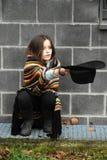 Beggar girl stock photo