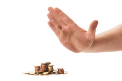 Beggar hand refusing coins Royalty Free Stock Images
