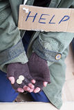 Beggar hands asking for a help Stock Photography
