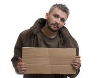 Beggar holding carton Stock Photo