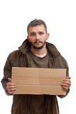 Beggar holding carton Stock Photos