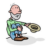 Beggar homeless. Alone with hat. broke, charity, abandoned, economy crash,recession,deb t, depression, economy bankruptcy, collapse - hand drawing Vector Stock Photography