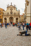 Beggar, homeless kneeling begging in Prague Stock Images