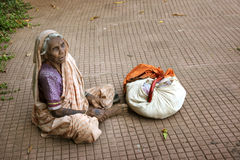 Beggar Indian woman Royalty Free Stock Photo