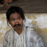 Beggar in Myanmar Stock Photo