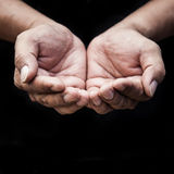 Beggar people and human poverty concept. Person hands begging for food stock image