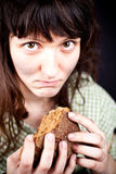 Beggar with a piece of bread Royalty Free Stock Images