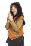 Beggar praying Stock Photography
