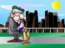Beggar saxophonist Stock Images
