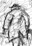 Beggar Sketch. Single poor looking man, sketch/Illustration in black and white carrying somethin into his right hand, stormy weather, artistic styled drawing of Stock Images