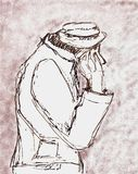 Beggar Sketch. Single poor looking man, sketch/Illustration in black and white and with red ink, symbolizing a poor person as like a beggar or a refuge  / Royalty Free Stock Photo