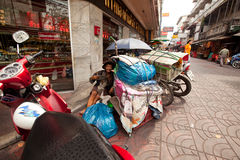 Beggar on the street in Chinatown Bangkok. Royalty Free Stock Photo