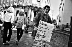 Beggar in the street 111. This is a beggar in the streets of Huelva Royalty Free Stock Photography