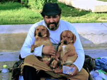 Beggar with twin puppy. A beggar while holding two cute puppy asking for money Royalty Free Stock Image