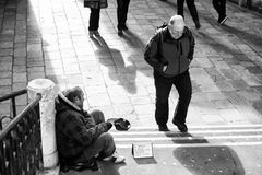 Beggar in Venice bw Stock Image