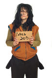 Beggar woman holding cardboard Stock Photography