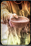 Beggar wooden cup aged picture Stock Photos
