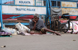 Beggars in front of Nirmal Hriday, Home for the Sick and Dying Destitutes in Kolkata Stock Images