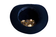 Beggars hat. Black hat with polish coins inside royalty free stock photography