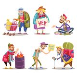 Beggars, homeless, tramps, hobo, funny cartoon set. Beggars, homeless, tramps, hobo, funny vector cartoon set isolated on white background. Hobo with shopping Royalty Free Stock Images