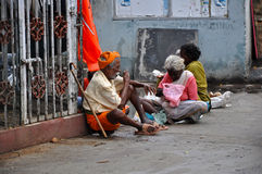 Beggars in India stock images