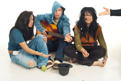Free Beggars With Guitar Singing For Money Royalty Free Stock Photo - 17884025