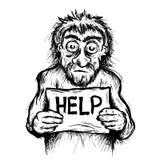 Beggary - плохой попрошайка умоляет с плакатом иллюстрация вектора
