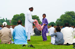 Beggers在Eid天 免版税库存图片