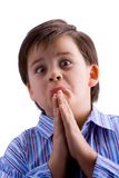 Begging. Kid begging isolated in white stock images